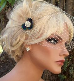Bridal Fascinator Hair Clip Ivory Peacock french by kathyjohnson3, $58.00