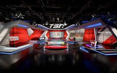 Explore photos of TSN's TV set design in this interactive gallery of the studio. Tv Set Design, Stage Set Design, Booth Design, Plateau Tv, Exhibition Stand Design, Exhibition Display, Virtual Studio, Office Pictures, Studio Setup