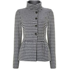 Coat. Print. Regular length. Double breasted. Funnel neck. Long-sleeved. Button fastening. Not waterproof. 74% Wool, 24% Nylon, 2% Elastane. Dry clean only.