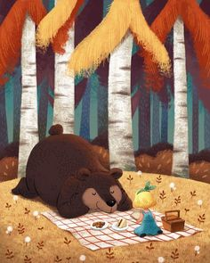 Do you like to read this book together? #미루 #친구 #독서 #곰 #소녀 #피크닉 #소풍 #숲 #일러스트 #friend #reading #picnic #bear #forest #girl #illustration #miru