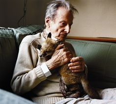 Lucian Freud and a fox cub in Another Magazine A/W05