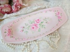 PEARL PINK ROSES TRAY daSommers hp chic shabby vintage cottage hand painted art $19.0