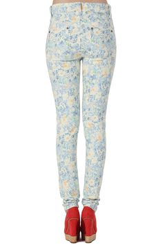 #Romwe Color Block White Floral Jeans