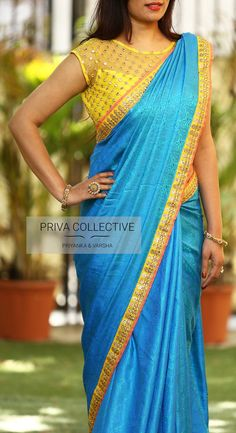 PV 3550 : Yellow and BluePrice : Rs 4000.  We are back with our all time favourite combination. Sky blue coloured soft self patterned silk sari is finished with a tinge of peach and yellow bordersUnstitched blouse piece - Yellow faux mirror work blouse piece as shown in the pictureFor Order 14 November 2017 Saree Blouse Neck Designs, Saree Blouse Patterns, Fancy Blouse Designs, Designer Blouse Patterns, Bridal Blouse Designs, Hyderabad, Net Blouses, Stylish Blouse Design, Elegant Saree
