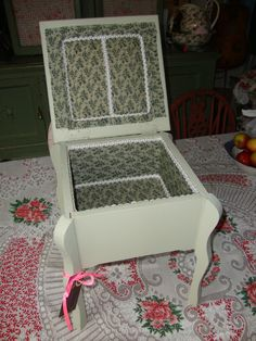 A pretty vintage sewing box, reupholstered and braided to the interior. Handpainted in French Gray...