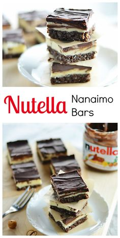 Nutella nanaimo bars world food and drinks Fun Desserts, Delicious Desserts, Dessert Recipes, Yummy Food, Delicious Cookies, Bar Recipes, Christmas Desserts, Chocolate Treats, Chocolate Recipes