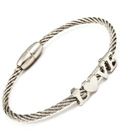 Love Cable Bracelet $12 -- Silver cable bracelet with metal casting L♥VE charm. Magnetic clasp.  ♥ 3 mm width.  ♥ Nickel and lead compliant. http://www.avaadorn.com/love-cable-bracelet-p-469.html