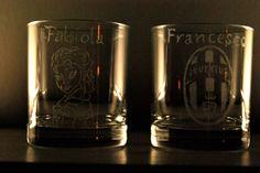 Bicchieri personalizzati con incisione dei nome, principessa frozen e scuetto juventus!