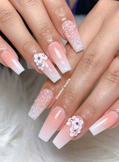 We've rounded up super pretty nail ideas and colors we're sure that will wow neither will a matching crisp-white mani, nail art designs with. Cute Acrylic Nail Designs, Beautiful Nail Designs, Nail Art Designs, Latest Nail Designs, Bling Acrylic Nails, Best Acrylic Nails, Rhinestone Nails, 3d Nails, Matte Nails