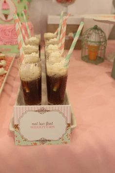 Root beer float shooters at a Shabby Chic Birthday Party!  See more party planning ideas at CatchMyParty.com!
