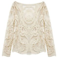 Beige Long Sleeve Hollow Crochet Lace Blouse ($15) ❤ liked on Polyvore featuring tops, blouses, beige, beige blouse, beige long sleeve blouse, beige lace top, white lace top and long sleeve tops