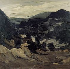 Rugged Mountains with Low Cloud  by Kyffin Williams