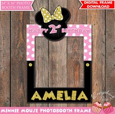 """Minnie Mouse Pink and Gold 24"""" x 36"""" Happy Birthday Photo Booth Frame Digital Download"""