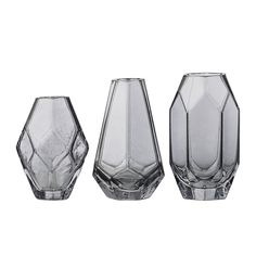 Discover+the+Bloomingville+Grey+Glass+Vases+-+Set+of+3+at+Amara