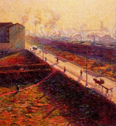 The Morning by Italian artist Umberto Boccioni Oils on panel, this was completed in Milan and is housed in that same city at the Mazzotta Collection. Italian Painters, Italian Artist, Umberto Boccioni, Italian Futurism, Futurism Art, Giacomo Balla, Reggio Calabria, Post Impressionism, Henri Matisse