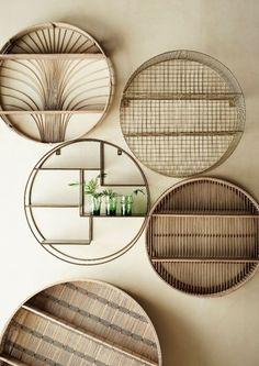 WOW! Deze wandkast van het bekende merk Madam Stoltz kan absoluut niet ontbreken in jouw interieur. Dit wandkastje is gemaakt van bamboe en heeft een ronde vorm met twee plankjes. Je kunt allemaal leuke spulletjes op de plankjes zetten om de kast leuk in te richten. Wall Shelves, Shelving, Cane Baskets, Round Shelf, Bamboo Shelf, Bamboo Wall, Spring Fair, Regal Design, Moving Furniture