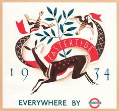 London Transport poster designed by D.M. Batty  in 1934 and published in The Penrose Annual in 1936.