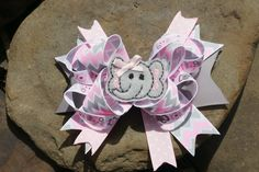 Pink and grey chevron elephant stacked hair clip www.littlesweetpeacloset.com