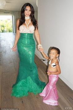 Mommy and me mermaids: Kim shared a nice look at her green and vibrant mermaid dress that she wore at North's third birthday celebration over the weekend