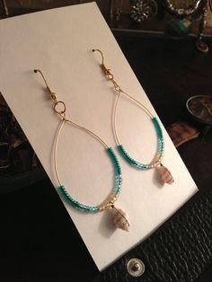 Beachy Beaded Shell Earrings by AveryRoseJewelry on Etsy, $28.00