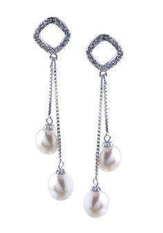 Boucles d'oreilles pendantes argent avec perle de culture blanc et zirconium blanc
