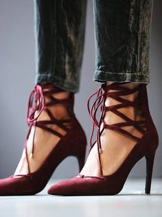 Zi Qiang Burgundy Suede Lace Up Heels Shoes Inspo
