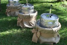 Kegs wrapped in burlap