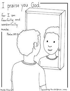 """""""I am fearfully made"""" Psalm 139 coloring page (boy version)"""