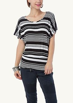 image of Surplice Back Striped Dolman Top so cute!