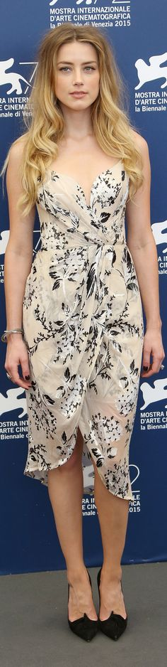 "Amber Heard in Zimmerman Dress, Christian Louboutin ""Gwailor"" Pumps Venice film…"