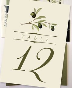 DIY Printable 5x7 Olive Branch Table Number Cards 120 by NooneyArt, $15.00