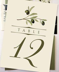 DIY Printable 5x7 Olive Branch Table Number Cards 120 by NooneyArt, $15.00