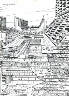 Rem Koolhaas, Asian City of Tomorrow, SMLXL, © Image courtesy of the Office for Metropolitan Architecture (OMA) Architecture Design, Architecture Graphics, Architecture Drawings, Concept Architecture, Rem Koolhaas, Futuristic City, Futuristic Architecture, Bruce Mau, Section Drawing