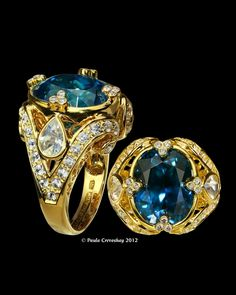 Blue zircon and diamonds set in gold