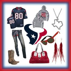 Outfit -- Houston Texans/ earrings are not me Houston Texans Funny, Houston Texans Party, Houston Texans Football, Texans Game, Bulls On Parade, Texans Cheerleaders, Swagg, Polyvore, Cute Outfits