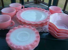 Vintage 16 piece Pink Ripple Hazel Atlas by RockySpringsVintage