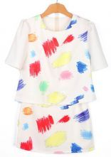White Short Sleeve Graffiti Print T-Shirt With Shorts