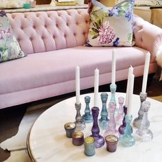 Glass candlesticks in varying colours and heights....makes a beautiful setting anywhere. Now in stock.