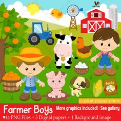 Farmer boys- Farm clipart - Clip Art and Digital paper set