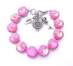 Swarovski Crystal Bracelet 12mm Ultra Pink Coral by SiggyJewelry