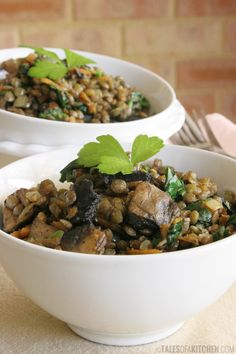 french warm lentil salad with spinach and mushrooms....vegan.