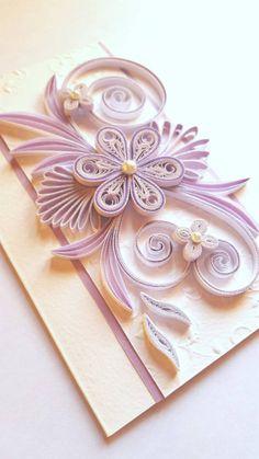 Elegant Handmade Birthday Card - Flowers Design - Quilling Ornaments - Greeting…