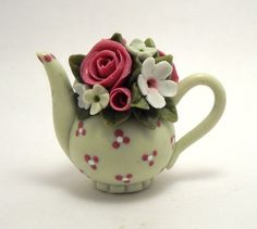 1/12TH scale   romantic pale green teapot by Lory by 64tnt on Etsy