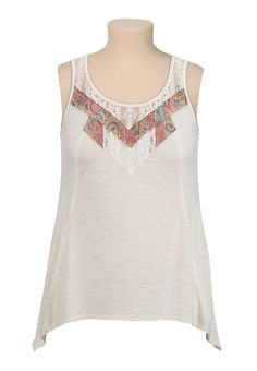 Lace and floral sharkbite plus size tank - maurices.com