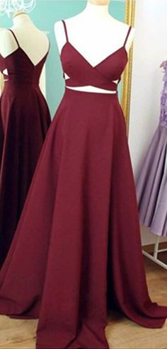 Burgundy Prom Dresses,Simple Evening Dress,Spaghetti Straps Evening Dress,Wine Red Formal Dress,Backless Party Gowns
