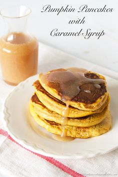 Pumpkin Pancakes with Caramel Syrup will rock your world!  A must-have this time of year by www.cookingwithruthie.com #recipes #pumpkin