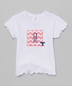 Another great find on #zulily! White Chevron Initial Pima Tee - Infant, Toddler & Girls #zulilyfinds