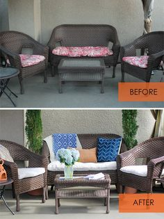 Sewing Cushions How to Re-cover Patio Cushions Without Sewing - Update old patio cushion covers with a canvas drop cloth -- no sewing required! As an added bonus, these are removable and washable. Recover Patio Cushions, Outdoor Couch Cushions, Outside Cushions, Patio Cushion Covers, Patio Furniture Cushions, Patio Chair Cushions, Diy Outdoor Furniture, Patio Chairs, Diy Furniture