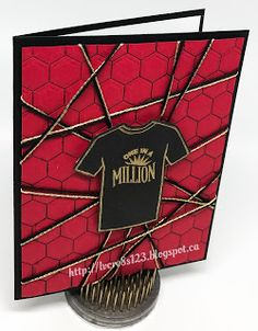 Linda Vich Creates: One In A Million Tee Shirt Birthday. Vibrant birthday card created using Custom Tee Bundle and the new Hexagons Dynamic Embossing Folder.