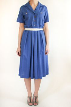 vintage blue shirtdress on Etsy, $41.00